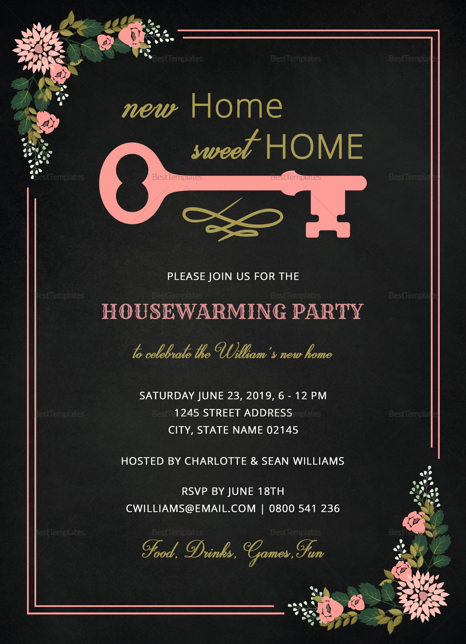 Housewarming Images for Invitation Fresh Chalkboard Housewarming Invitation Design Template In Word