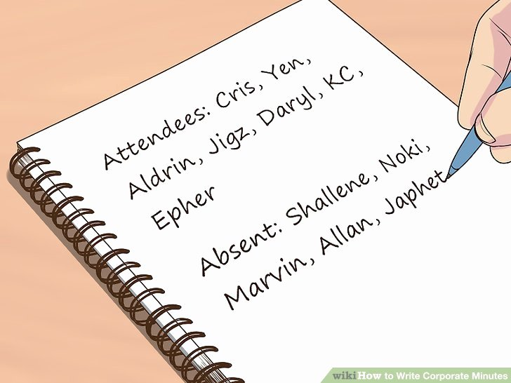 How to Write Minutes Unique How to Write Corporate Minutes with Wikihow
