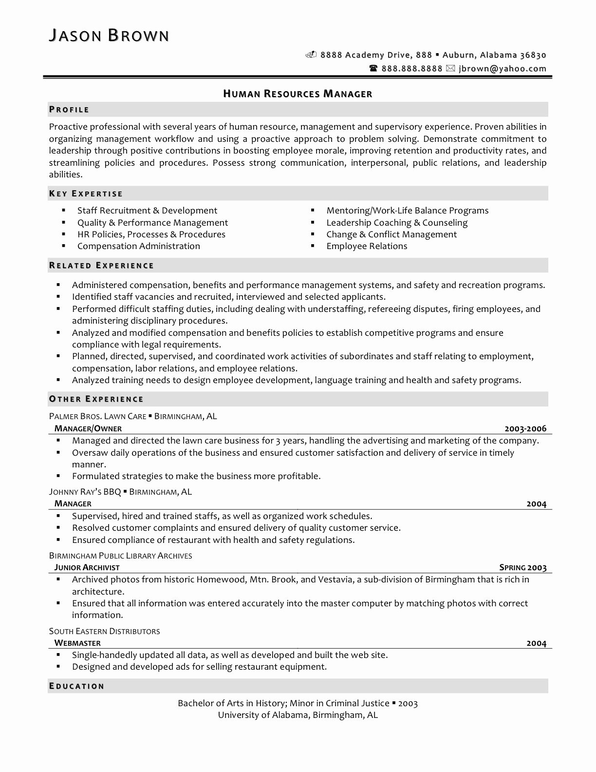 Hr Executive Resume Sample Awesome Human Resources Business Partner Resume Templates – Hr