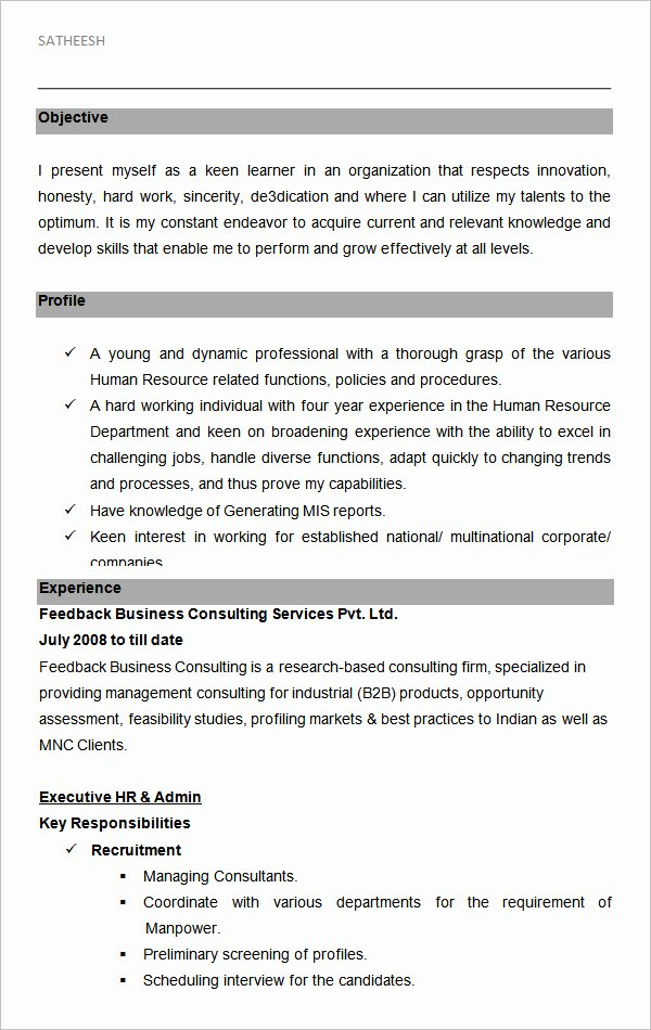 Hr Executive Resume Sample Elegant 21 Hr Resume Templates Doc