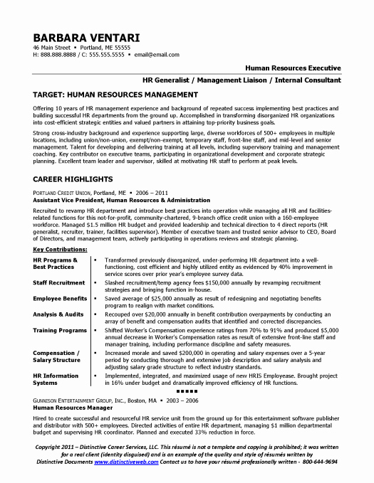 Hr Executive Resume Sample Elegant Resume Sample for Hr Manager