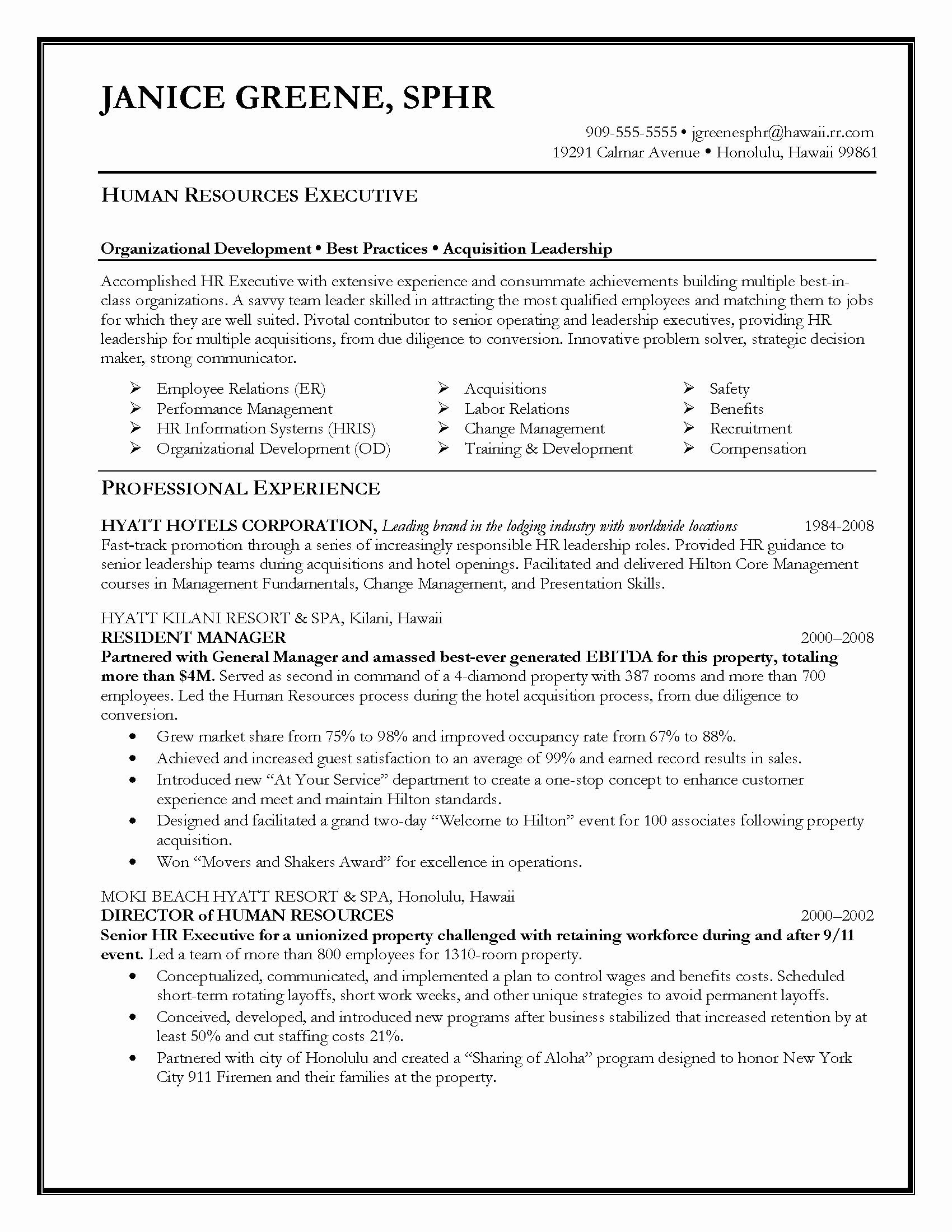 Hr Executive Resume Sample Elegant Resume Samples Elite Resume Writing