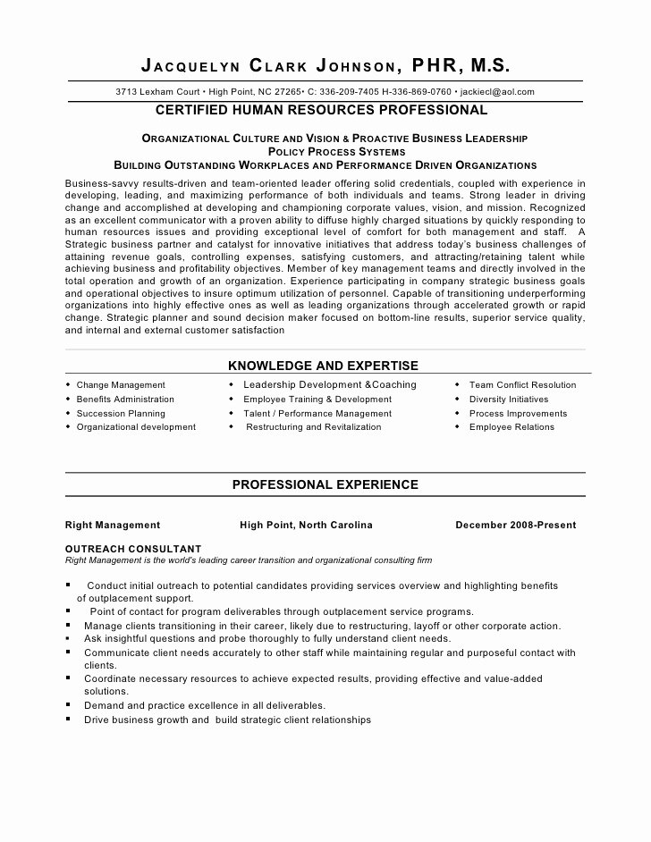 Hr Executive Resume Sample Elegant Strategic Thinker Business Partner Human Resource