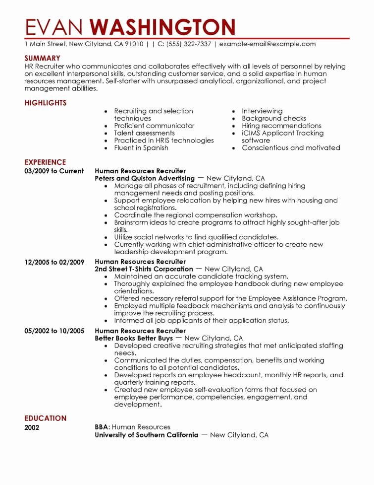 Hr Executive Resume Sample Fresh Best Recruiting and Employment Resume Example