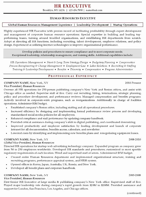 Hr Executive Resume Sample Inspirational Executive Resumes Google Search Resume Samples