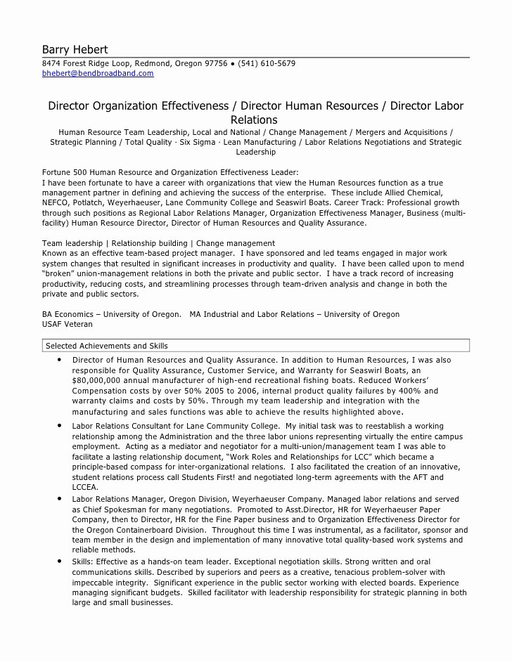 Hr Executive Resume Sample Inspirational Hr Director Resume