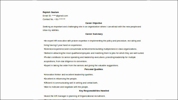 Hr Executive Resume Sample Lovely 7 Sample Hr Executive Resumes