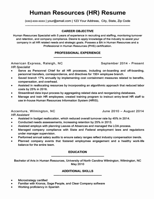 Hr Executive Resume Sample Lovely Human Resources Resume Sample & Writing Tips