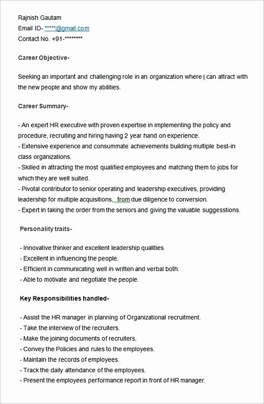 Hr Executive Resume Sample New Hiring Manager Resume