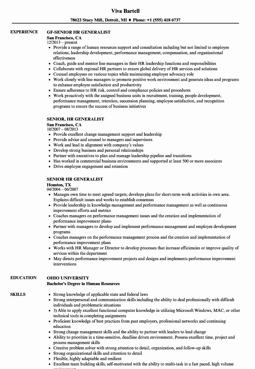 Hr Executive Resume Sample Unique Senior Hr Executive Resume Sample