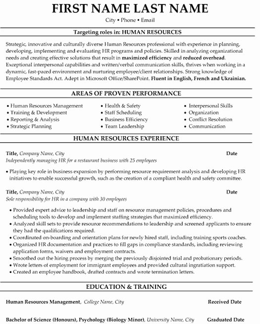 Hr Executive Resume Sample Unique top Human Resources Resume Templates & Samples