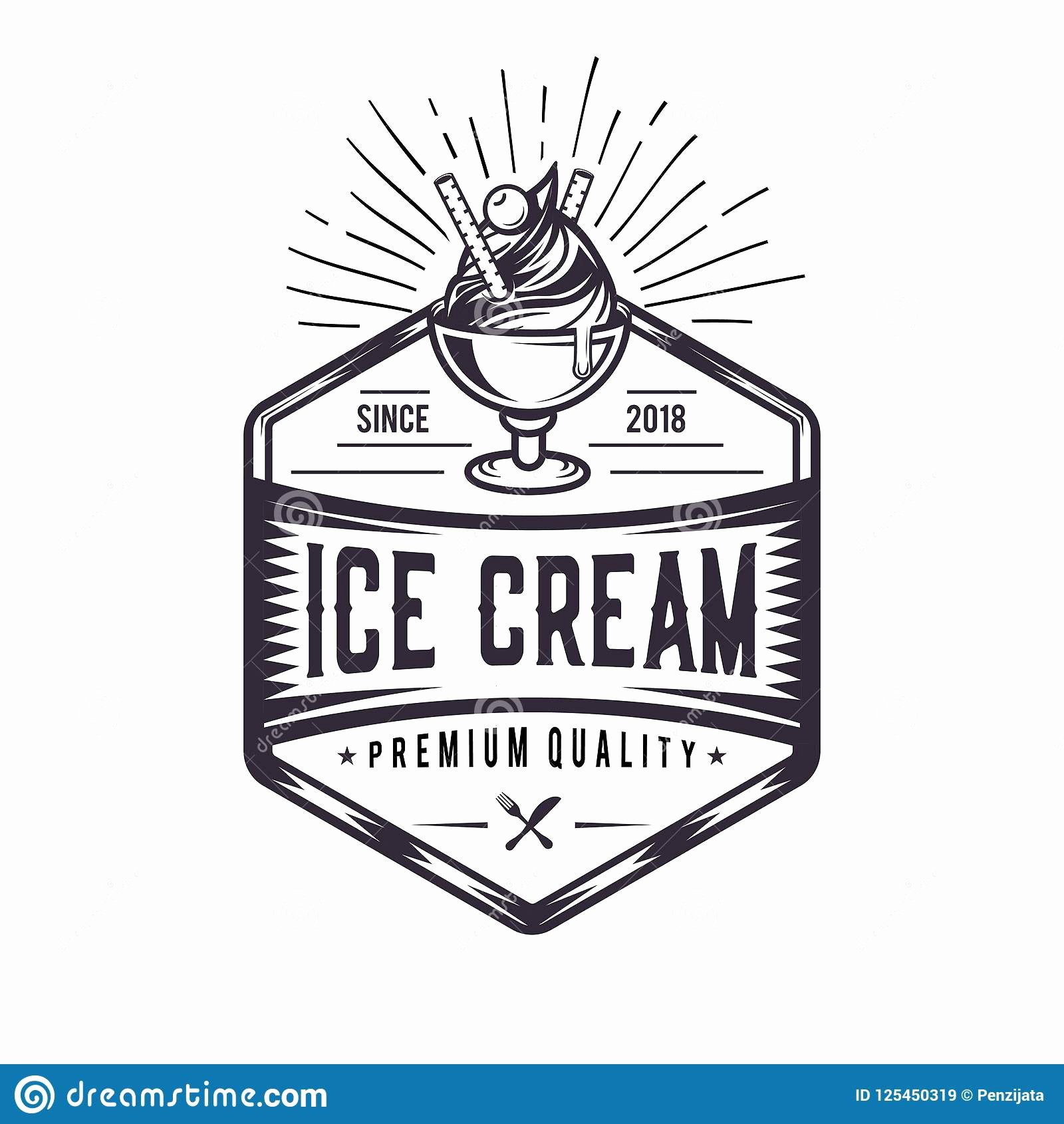 Ice Cream Shop Logo Fresh Retro Ice Cream Logo Vintage Emblem Logo Illustration