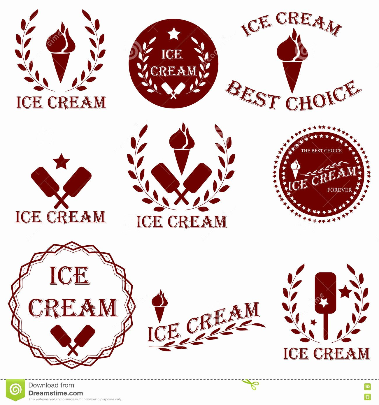 Ice Cream Shop Logo Luxury Set Badges and Stickers for Sale Ice Cream