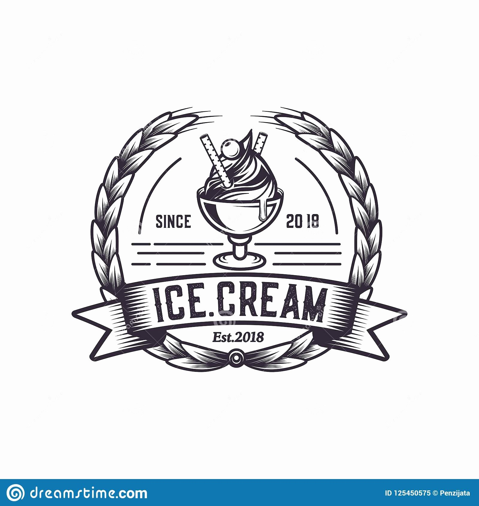 Ice Cream Shop Logo Unique Retro Ice Cream Logo Vintage Emblem Logo Illustration