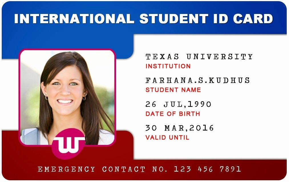 Id Card Templates Unique Beautiful Student Id Card Templates Desin and Sample Word