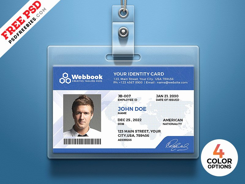 Id Card Templates Unique Free Id Card Template Psd Set