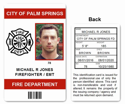 Id Cards Templates Best Of Fire Department Emt Pvc Id Card