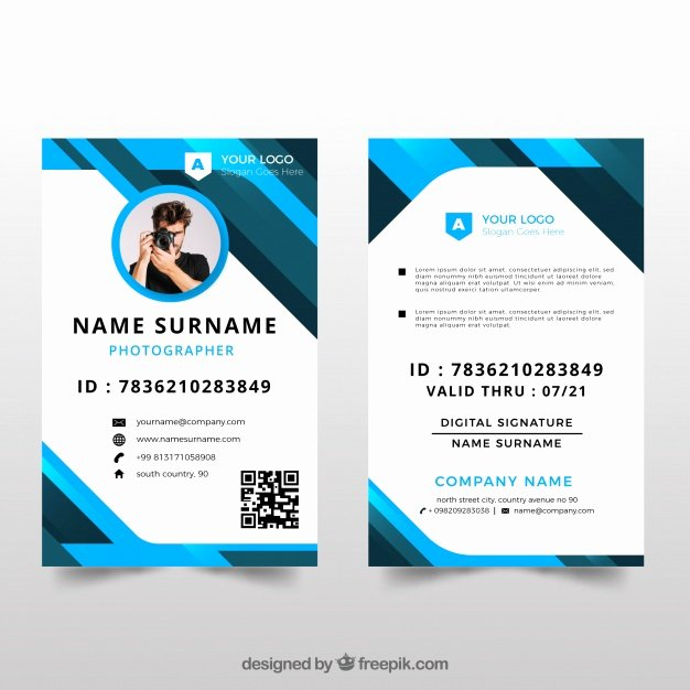 Id Cards Templates Fresh Id Card Template with Flat Design Vector