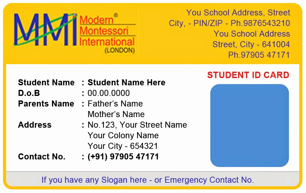 Id Cards Templates Unique Template Galleries Montessory Play School Id Card Templates