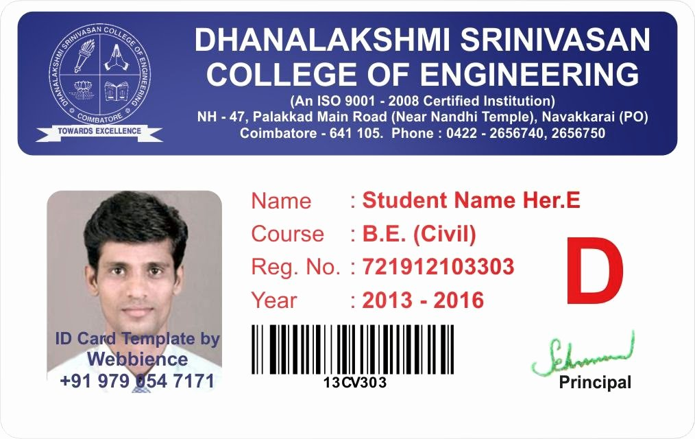 Identity Card Template Best Of Template Galleries College Student Id Card Template