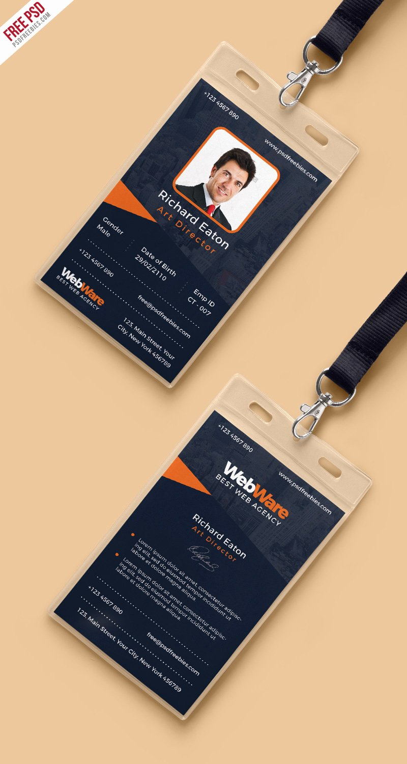 Identity Card Template Best Of Vertical Pany Identity Card Template Psd