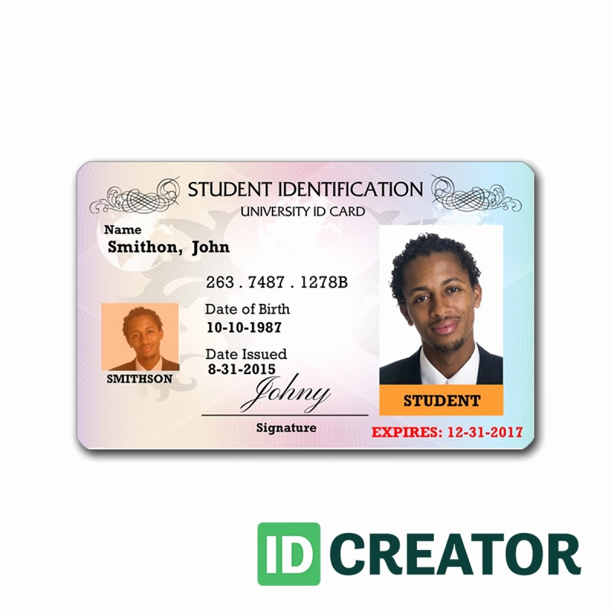 Identity Card Template Fresh State Identification Card Templates