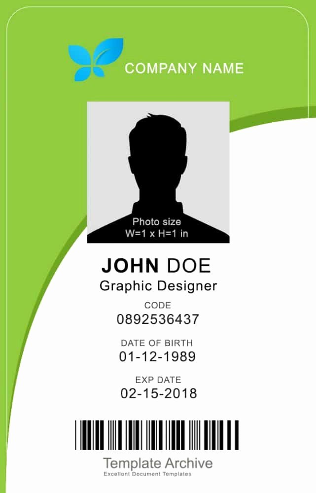 Identity Card Template Inspirational 16 Id Badge & Id Card Templates Free Template Archive