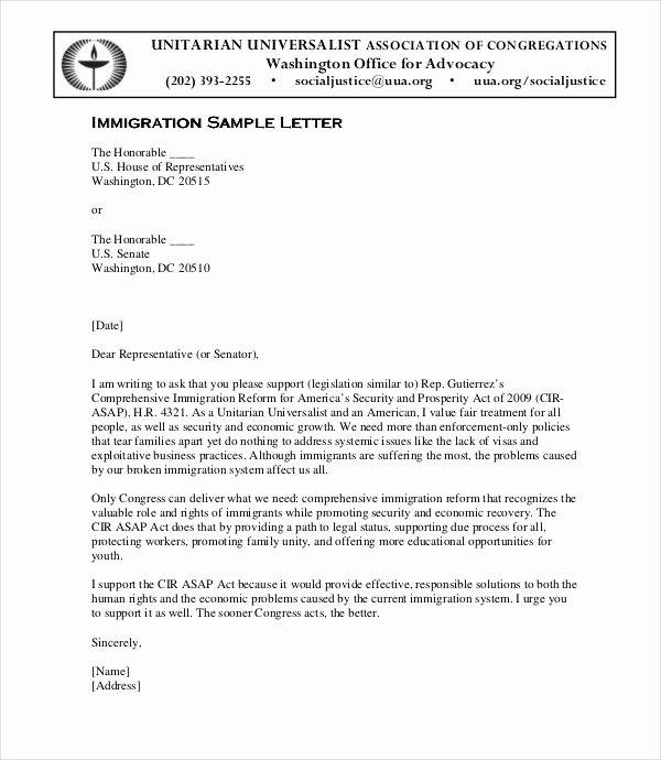 Immigration Recommendation Letter Sample Fresh Letter Of Immigration Support Example 12