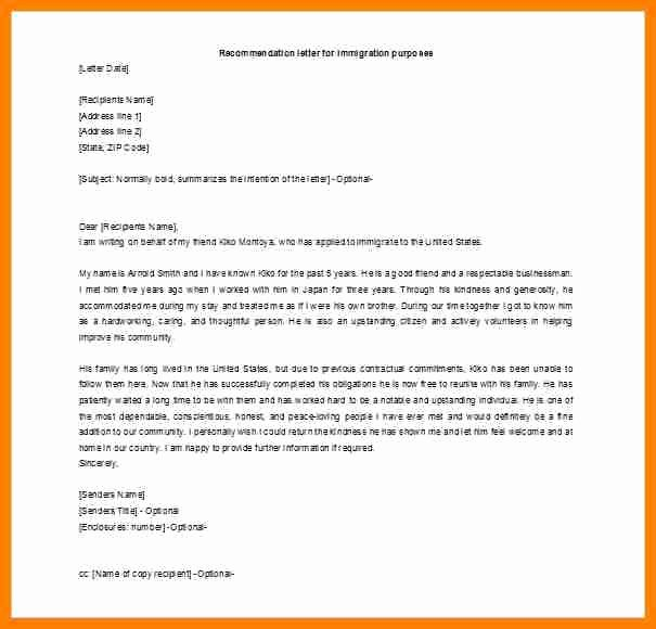 Immigration Recommendation Letter Sample Inspirational 6 Immigration Letter Of Re Mendation for A Friend