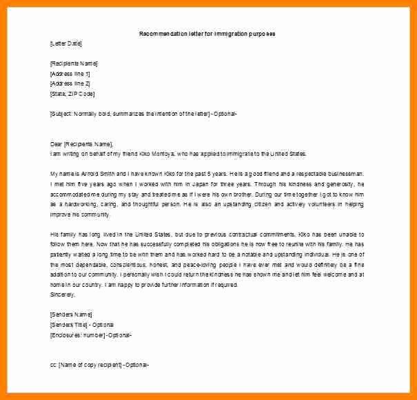 Immigration Recommendation Letter Sample Inspirational 6 Immigration Letter Of Re Mendation for A Friend
