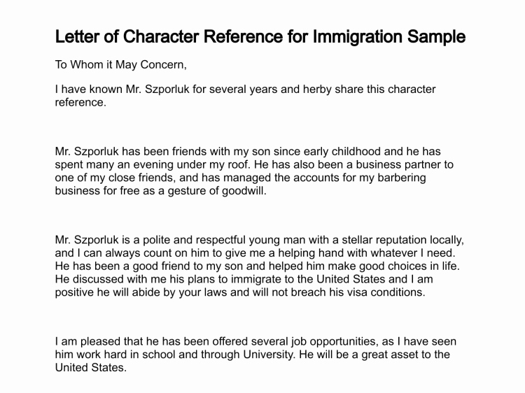 Immigration Recommendation Letter Sample New Letter Of Character Reference