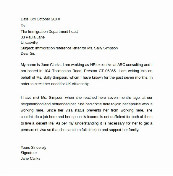 Immigration Reference Letter Example Inspirational Personal Reference Letter Template 12 Samples