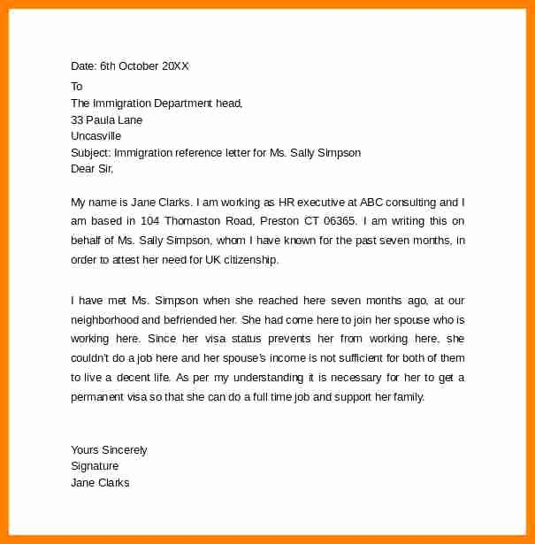 Immigration Reference Letter Example Luxury 7 Letter Of Re Mendation for Immigration Marriage