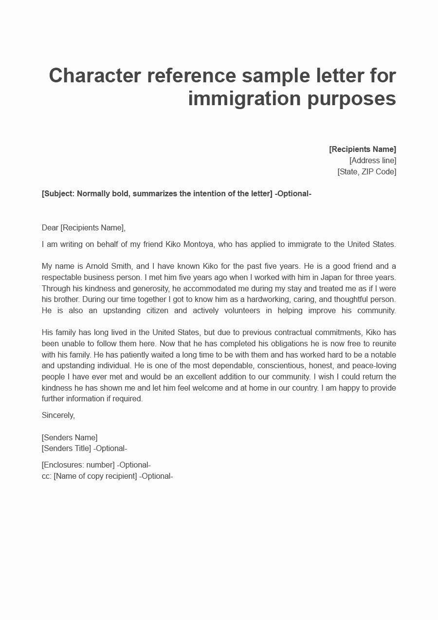 Immigration Reference Letter for Friend New 36 Free Immigration Letters Character Reference Letters