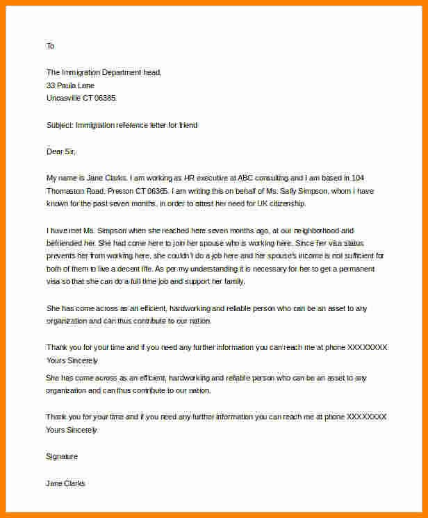 Immigration Reference Letter for Friend New 5 Immigration Letter Of Support for A Friend