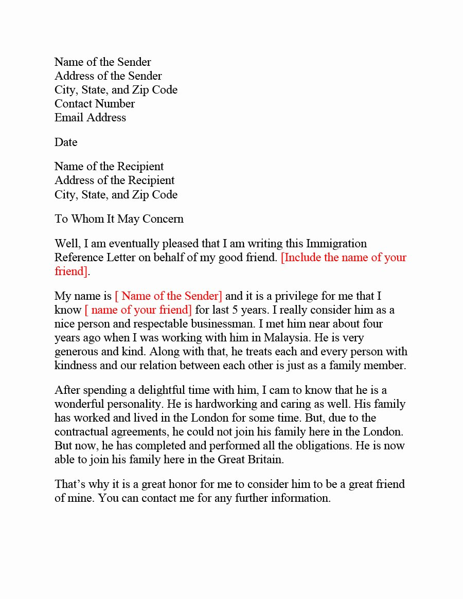 Immigration Reference Letter Sample Unique 36 Free Immigration Letters Character Reference Letters