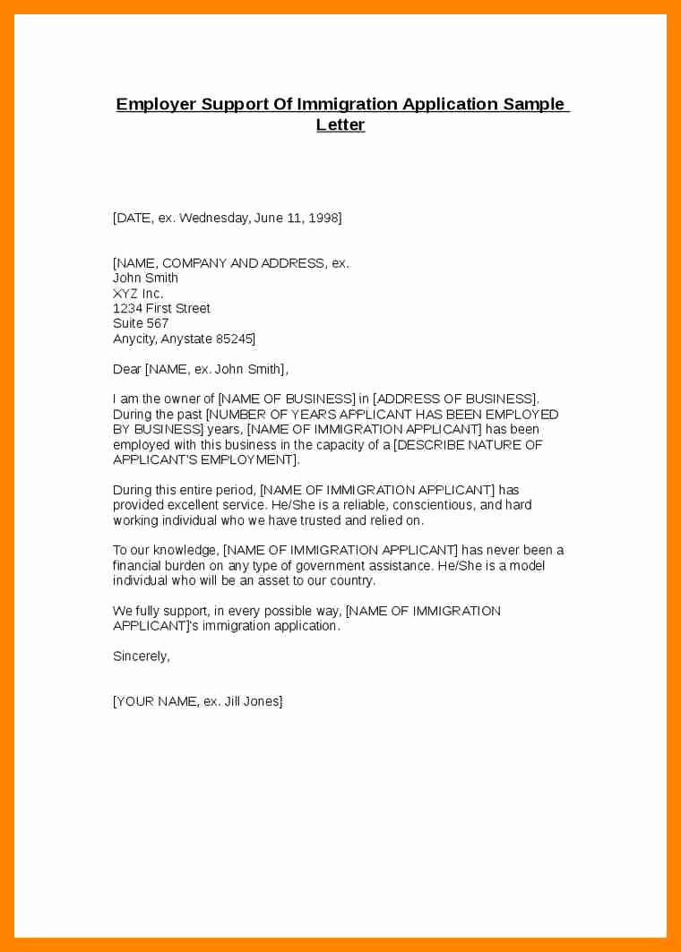 Immigration Reference Letter Sample Unique Letters Support for Immigration