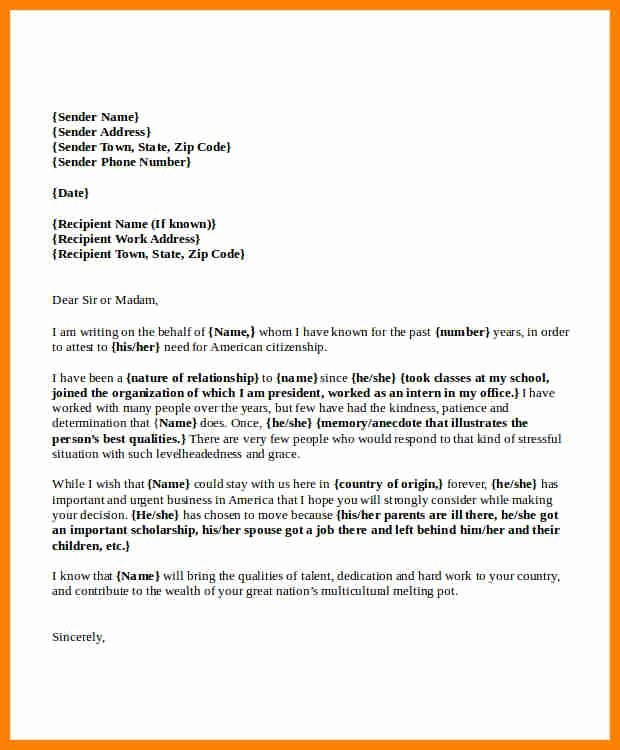 Immigration Reference Letter Template Awesome 7 Letter Of Re Mendation for Immigration Marriage