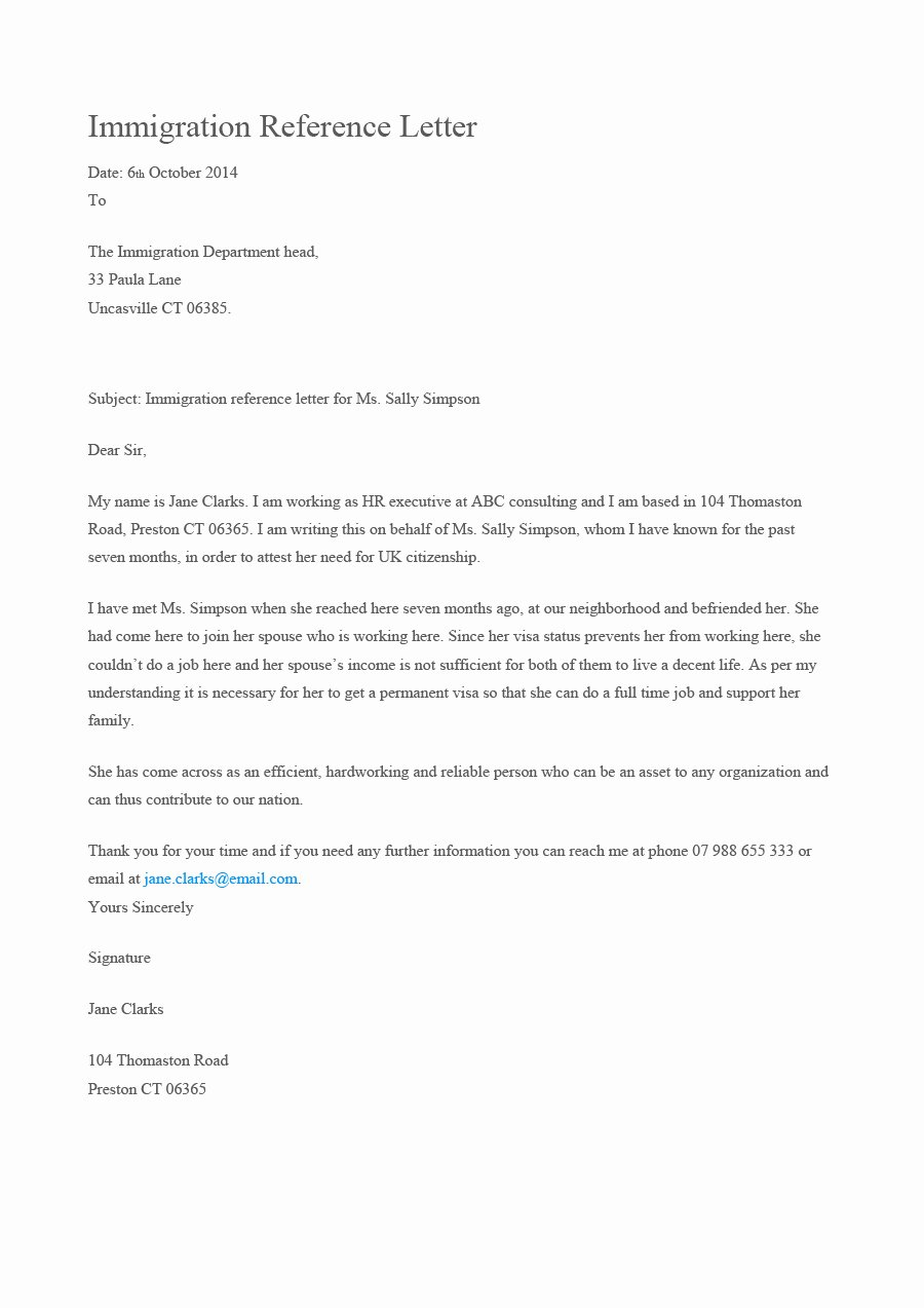 Immigration Reference Letter Template Beautiful 36 Free Immigration Letters Character Reference Letters
