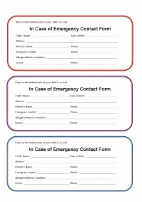 In Case Of Emergency form Awesome In Case Of Emergency form In Case Of Emergency