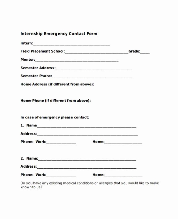 In Case Of Emergency form Beautiful 9 In Case Emergency form Template Etptr