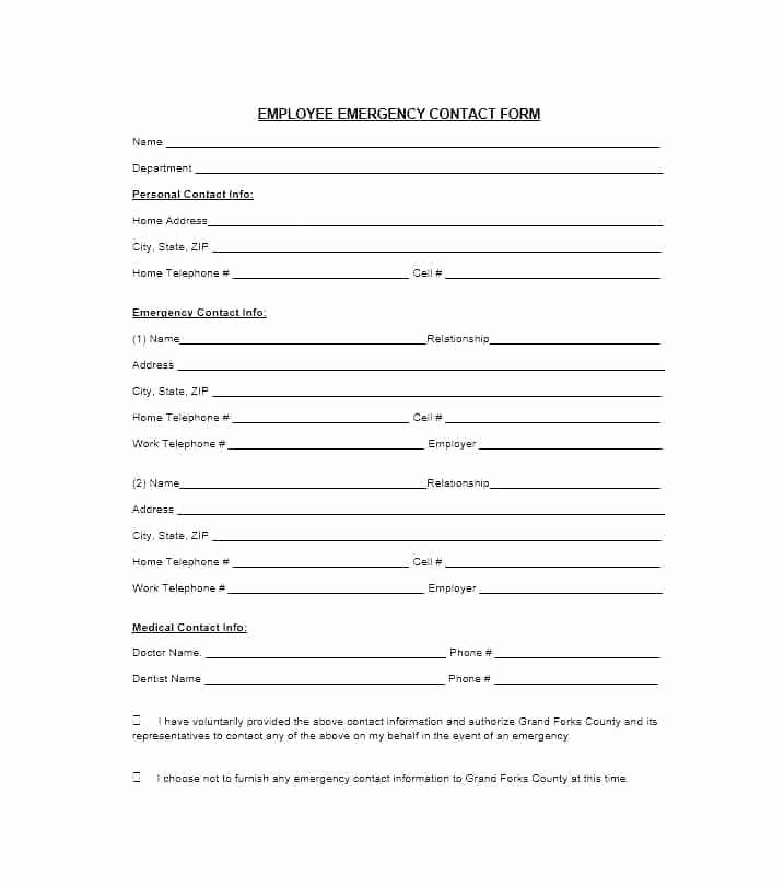 In Case Of Emergency form Best Of Volunteer Hour forms Template New Free Emergency Contact