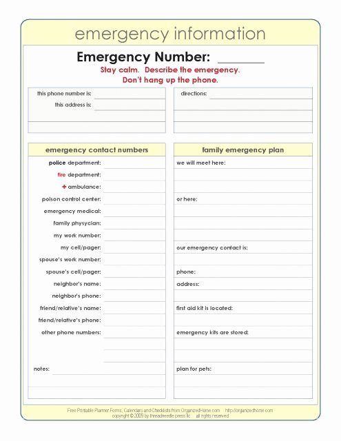 In Case Of Emergency form Lovely Emergency Information