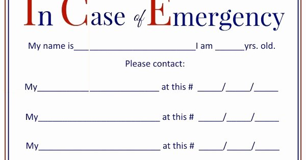 In Case Of Emergency form Luxury Glenda S World I C E In Case Of Emergency forms