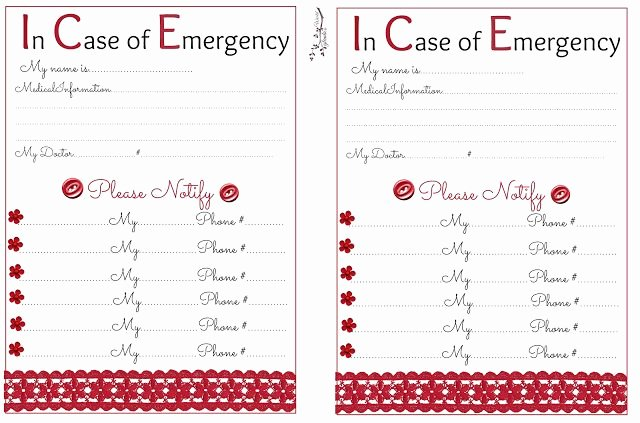 In Case Of Emergency form Unique 17 Best Images About Life Skills On Pinterest