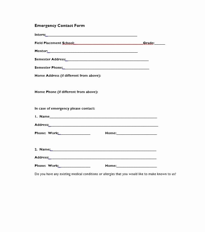 In Case Of Emergency form Unique 54 Free Emergency Contact forms [employee Student]