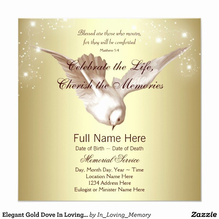 In Loving Memory Card Template Beautiful Elegant Gold Dove In Loving Memory Memorial Card