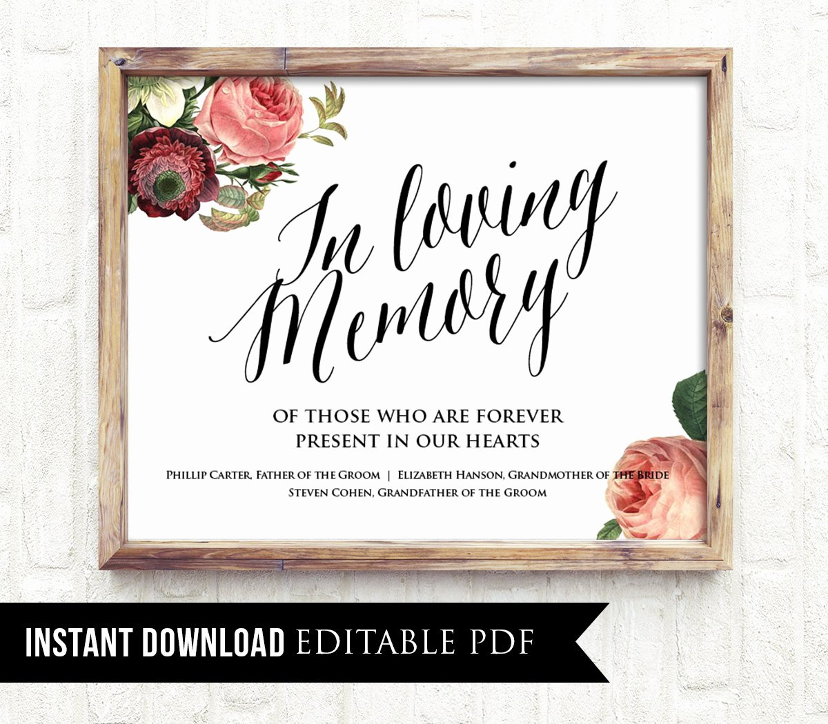 In Loving Memory Card Template Beautiful F In Loving Memory Wedding Sign Template Editable