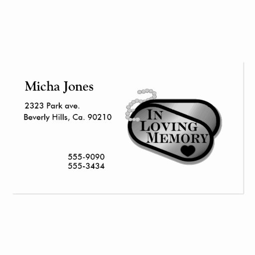 In Loving Memory Card Template Beautiful In Loving Memory Dog Tags Business Card Template