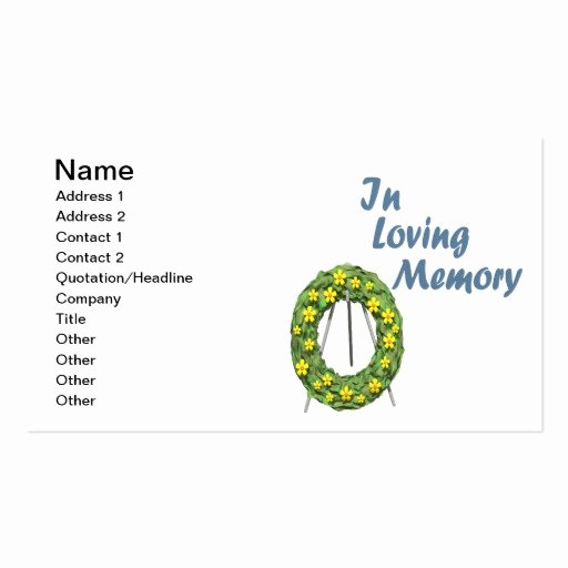 In Loving Memory Card Template Elegant In Loving Memory Double Sided Standard Business Cards